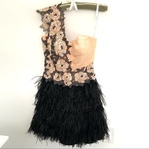 Terani Couture feather and lace cocktail dress